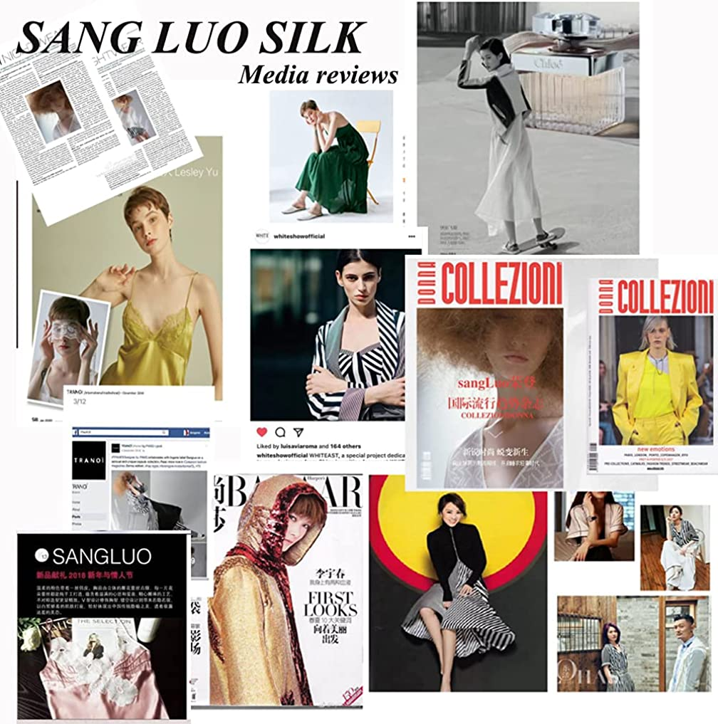 SANG LUO 100% Organic Certified Mulberry Silk Pajama Set for Men 19 Momme Pure Silk Long Sleepwear Pyjamas with Cat Print