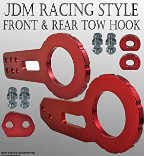 ICBEAMER Racing Style Anodized CNC Aluminum Tow Hook Kit Come with Front and Rear Tow Hook Screw [Color: Red] 1 Set
