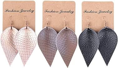YOUTH UNION Genuine Leather Petal Teardrop Earrings Boho Shard Lattice Leaf Dangle Pierced Earrings for Women Girls Christmas Valentines Day Jewelry