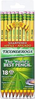 مداد TICONDEROGA ، چوب # 2 HB نرم ، پیش تیز با پاک کن ، زرد ، 18-بسته (13818)