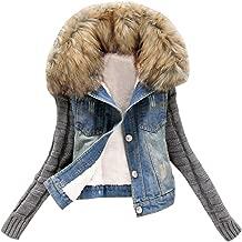 DongDong New Women's Denim Button Cowboy Faux Fur Collar Winter Warm Long Sleeve Pockets Jacket Coat