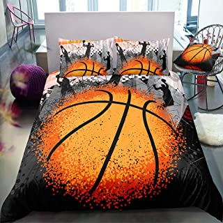 ADASMILE A & S Boys Bedding Set Sports Basketball Comforter Cover with 2 Pillow Shams Soft Microfiber Quilt Cover Bedroom ...