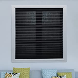 Acholo Easy to Install Trim-at-Home Light Filtering Pleated Fabric Shades Blinds Black for Windows 36