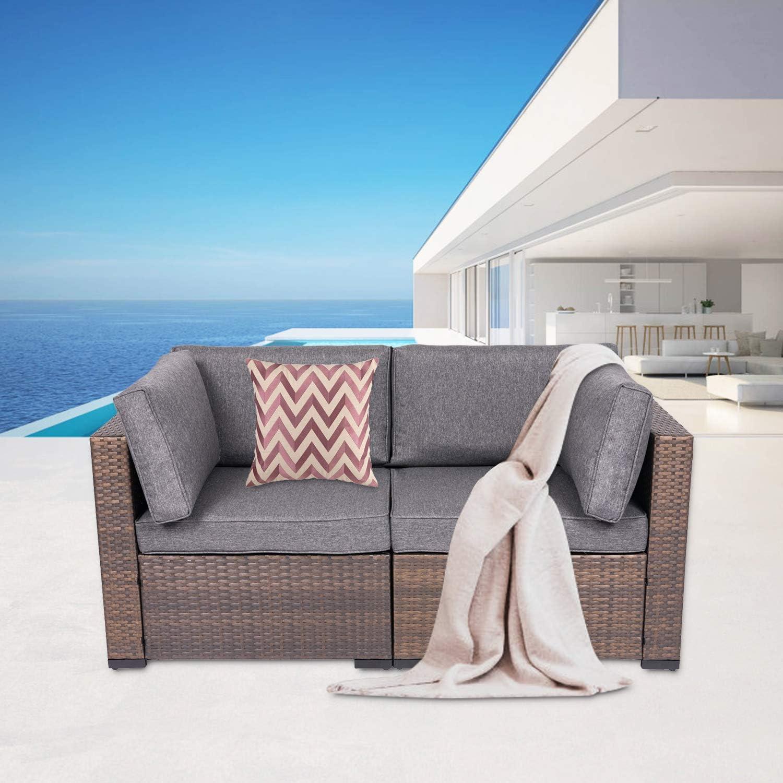 Kinbor 2 Ranking TOP18 Piece Wicker Corner Sofa Loveseat O Furniture Set Patio shop
