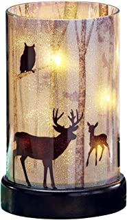 Cabin Home Decor Northwoods Woodland Creature Lighted Hurricane Candle