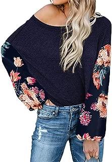 SZIVYSHI Long Sleeve Batwing Dolman Sleeve Off The Shoulder Colorblock Floral High Low Hem Smock Blouse Shirt Top
