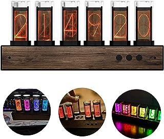 HTDHS Nixieチューブクロック、LEDビンテージ目覚まし時計色黒クルミパネル、磁気デジグのデジタル時計、子供、彼氏、夫のためのギフト
