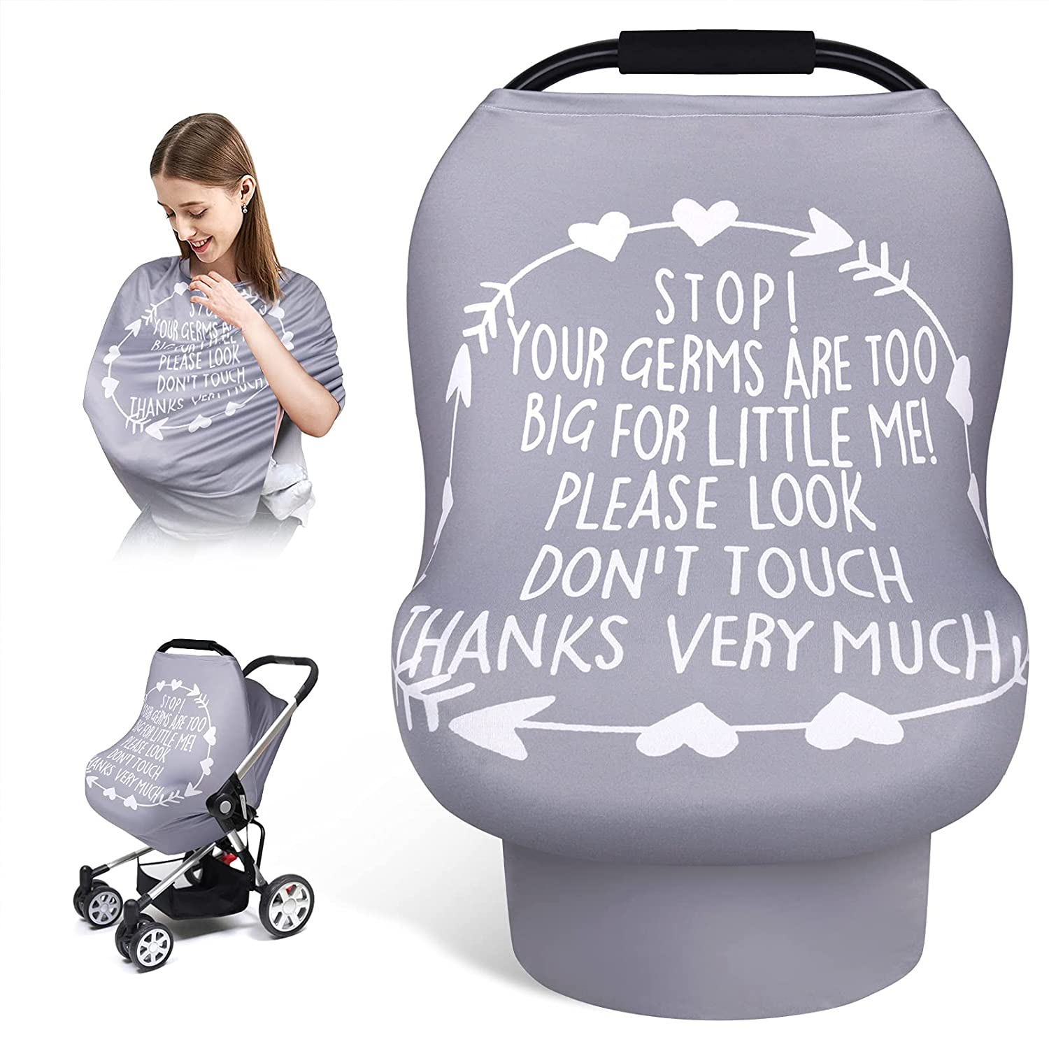 Car Seat Covers for Babies, Infant Carseat Canopy, Elstey Carrier Covers for Boys Girls, Stretchy Nursing Covers with Breathable Interactive Window, Soft Stroller Covers Newborn Shower Gifts