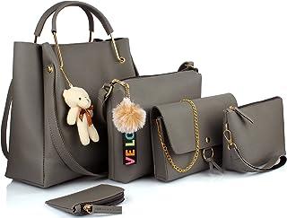 Mammon women's Handbag combo Grey (set of 5)
