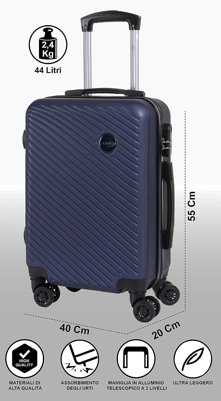 Air Italy Valigia rigida Alitalia easyJet Ideale a bordo di Ryanair CABIN 5508 Valigia Trolley ABS Lufthansa bagaglio a mano 55x37x20 guscio duro e antigraffio con 8 ruote