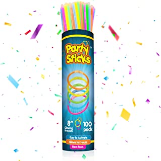 """Glow Sticks Bulk Party Favors 100pk - 8"""" Glow in the Dark Party Supplies, Light Sticks for Neon Party Glow Necklaces and B..."""