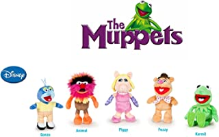 The Muppets - Pack 5 plush toy Quality super soft - Kermit the frog 22cm + Miss Piggy 20cm + Gonzo 19cm + Fozzie the bear 21cm + Animal 20cm