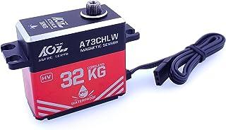 AGFrc 32KG IP67-Waterproof Servo High-Torque - Magnetic Sensor Coreless Servo Full Metal Gear for 1/10 RC Car Boat Crawler, Control Angle 180° (A73CHLW)