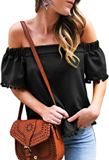 Womens Off The Shoulder Flared Bell Sleeve Tops Dot Printed Loose Fall Shirt Blouses