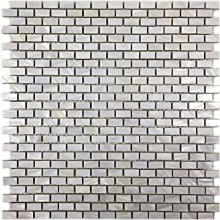 Vogue Tile Genuine Natural Mother of Pearl Oyster Mini Brick Shell Mosaic Tile for Kitchen Backsplashes, Bathroom Walls, Bathroom Floors, Spas, Pools (5)