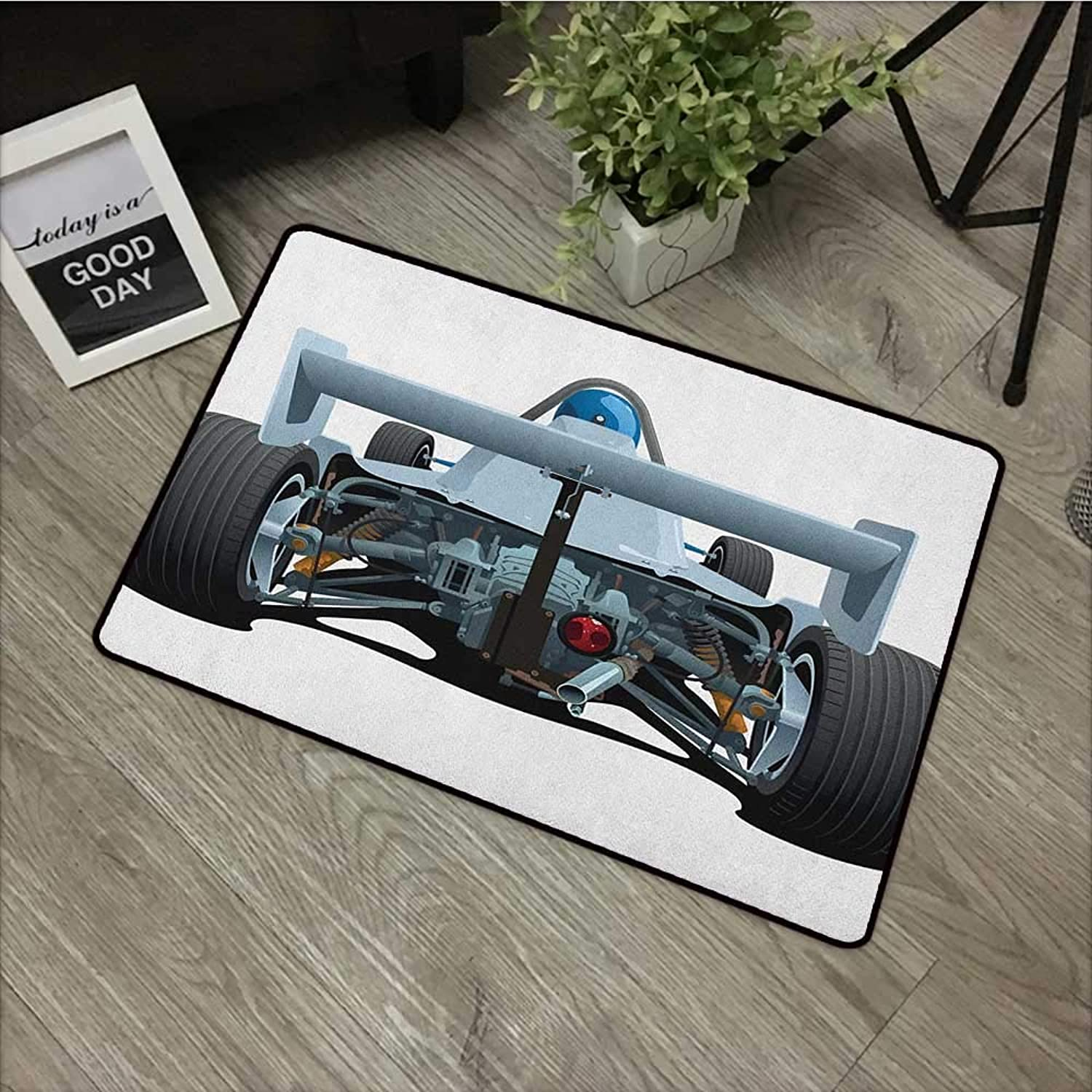 Bathroom Door mat W31 x L47 INCH Cars,Back View of a Formula 1 Race Car Rally Competition Sports Cartoon Style, blueegrey Black White Easy to Clean, no Deformation, no Fading Non-Slip Door Mat Carpet