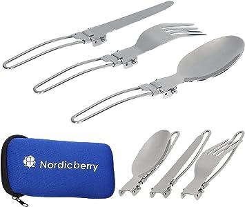 Nordicberry – Cubiertos para camping, plegables, acero inoxidable de calidad, incluyen funda de neopreno, perfectos para viajes porque ahorran espacio