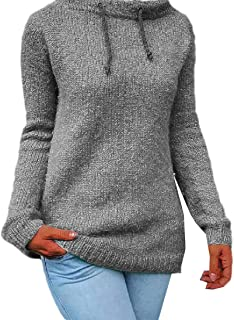 Howely Womens Drawstring Fall Winter Lounge Knitted Pullovers Sweater
