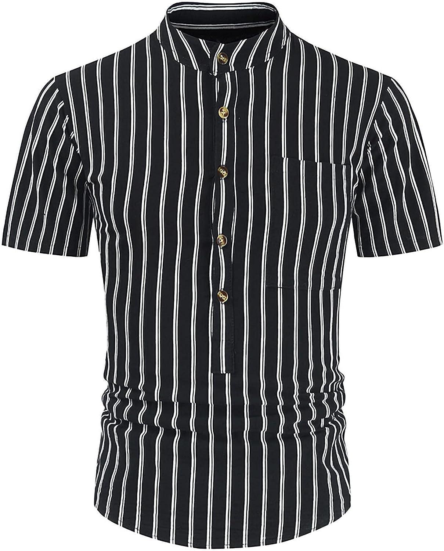 Mens Henley Collar Vertical Stripe Shirt Short Sleeve Slim Bussiness Dress Button Down Shirts Black Shirt M-4XL