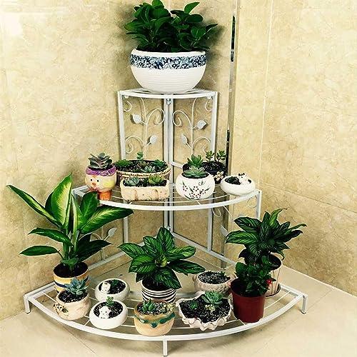 NAYAB Metal 3 Tier Step Corner Shelf Rack Flower Pots Plant Stand for Garden Balcony Outdoor, Ivory, L x W x H-81 x 5...