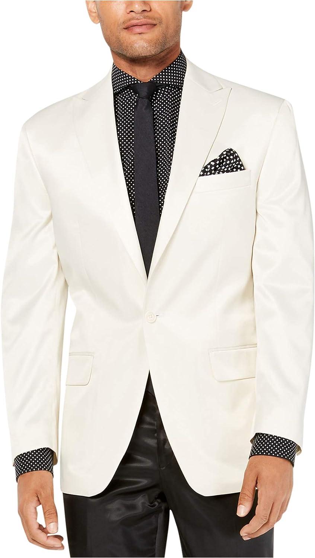 Sean John Mens Solid One Button Blazer Jacket, Off-White, 44 Long