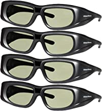 DLP LINK 144 Hz Ultra-Clear HD 4 PACK 3D Active Rechargeable Shutter Glasses for All 3D..