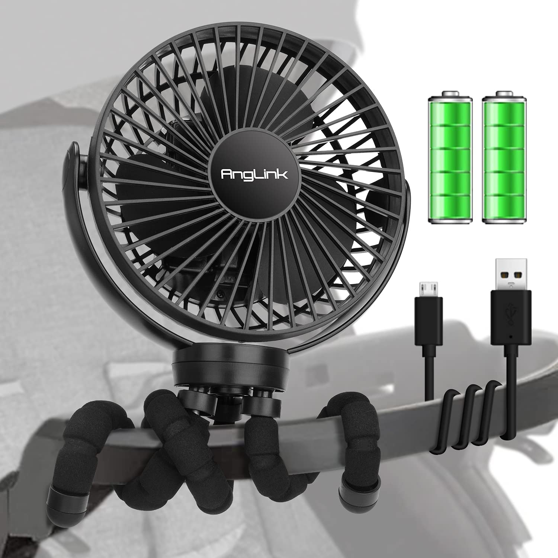 Anglink 40H 5000mAh Battery Operated Stroller Fan, Portable Baby Fan with Flexible Tripod, Car Seat Fan with 3 Speeds, Clip on Fan for Bike, Bed, Desk