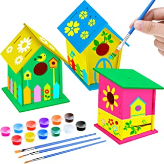 3 DIY Wooden Birdhouse Kit to Build Unfinished Paintable Wood Birdhouse Hanging Set Include 12 Colors Paints and 3 Brushes for Kids