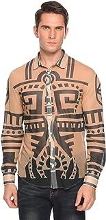 COOFANDY Men's African Tribal Tattoo Print Sexy See Through Long Sleeve Button Down Shirt