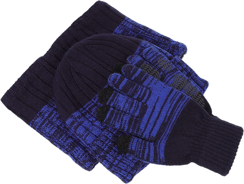 Amosfun Children Winter Warm Knitting Full Finger Gloves Hat Neck Gaiter Kit