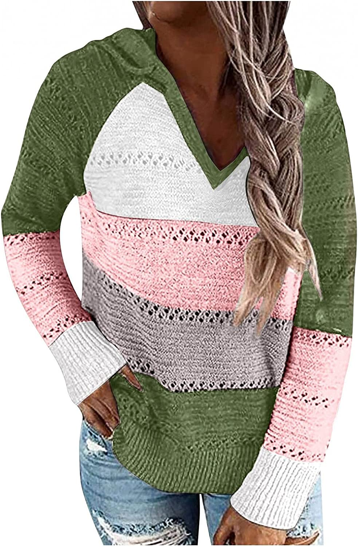 AODONG Women's Long Sleeve Color Block Tunics Fashion V Neck Tops Loose Casual Drawstring Pullover Hoodies Sweatshirts