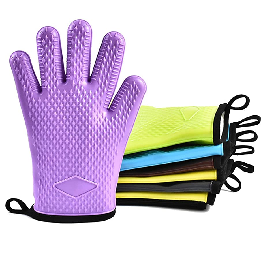 Guangheyuan Heat Resistant Silicone Gloves for Barbecue Grill Oven BBQ Cooking Bake Mitt Set, Gloves (UnitCount : One Pair)