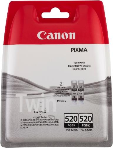 Canon PGI-520 2 Doppelpack original Tintenpatrone Schwarz für Pixma Inkjet Drucker MX860-MX870-MP540-MP540x-MP550-MP560-MP620-MP620B-MP630-MP640-MP980-MP990-iP3600-iP4600-iP4600x-iP4700