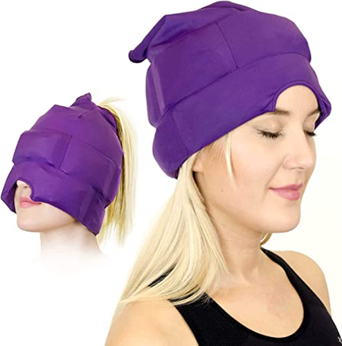 Headache and Migraine Relief Cap - A Headache Ice Mask or Hat used for Migraines and Tension Headache Relief. Stretch...