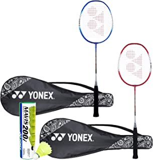 Yonex ZR 100 Light Badminton Combo (Set of 2 Yonex ZR 100 Light Badminton Racquet with Full Cover + Mavis 200I Shuttlecock Pack of 6)