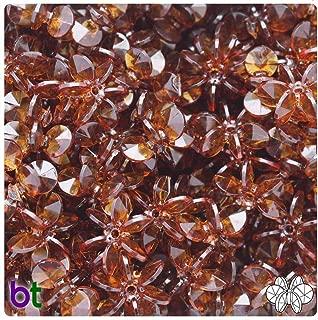 BeadTin Root Beer Transparent 18mm Sunburst Craft Beads (150pcs)