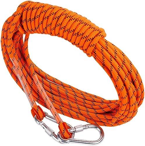 LYM-Rope Corde d'escalade, 60, 80, 100 Mètres, Diamètre 12 Mm Parachute De Secours Orange pour Extérieur (Taille   100m)