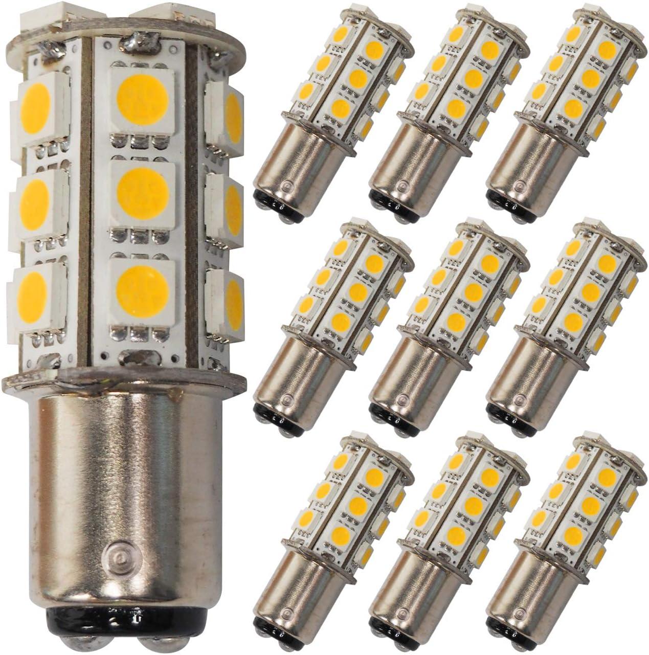 GRV Ba15d 1142 1076 High Power Car LED Bulb 24-5050 SMD DC 12V Cool White Pack of 2