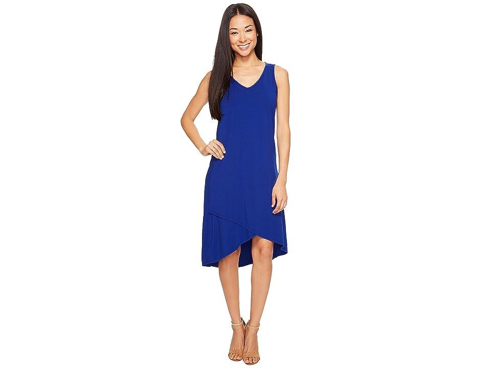 Mod-o-doc Cotton Modal Spandex Jersey Crossover Hem Dress (Nautical) Women