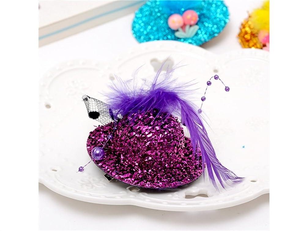 縞模様の花瓶時計Osize 美しいスタイル 手作りの布のヘアクリップかわいいぬいぐるみのボールのヘアクリップがクリップダックビルクリップ(ランダムカラー)