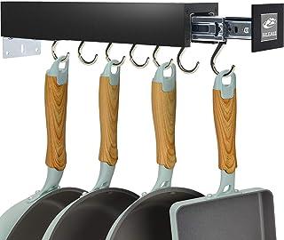 SOLEJAZZ Pot Holder Bar Rack Cintre pour ustensiles de cuisine avec 7 crochets réglables, organisation de garde-manger cou...