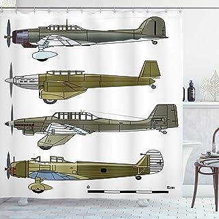 ستارة حمام Ambesonne على شكل طائرة، تصميم ثلاثي الألوان للتمويه وطائرات عرض هوائية تاريخية، مجموعة ديكور للحمام من القماش ...