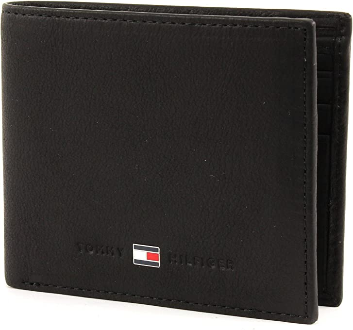 Tommy Hilfiger Men's Johnson Small Bifold Card Wallet, Black, One