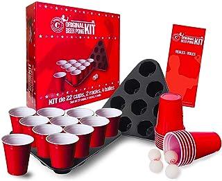 Original Beer Pong Kit Officiel   Pack Complet Beer Pong Officiel   Qualité Premium   22 Red Cups   2 Racks d'Emplacement...