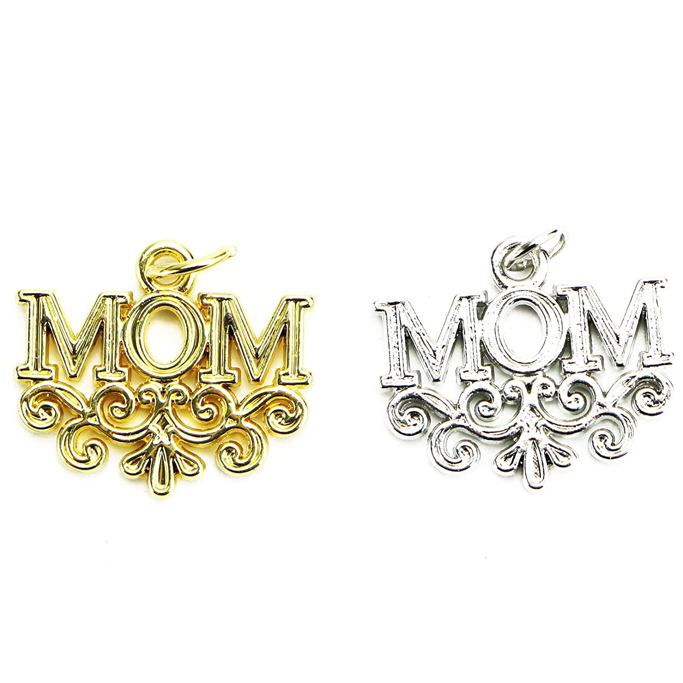 Monrocco Zinc Alloy Family Mom Words Charm 20 Pieces Mom Charms with Flower Pattern for Jewelry Making (Gold & Silver)