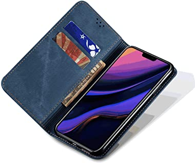 WiseSwim Leather Flip Case Fit for iPhone Xs Max, Blue Wallet Cover for iPhone Xs Max