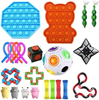 Toys Set 22 Pcs Stress Relief And Anti-Anxiety Tools Bundle Marble And Mesh Pack Of Squeeze Balls Soybean Squeeze Push Pop...