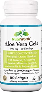 NutriWorth Organic Aloe Vera 20,000mg Supplement - 100 Softgels (Non-GMO) Kosher Certified
