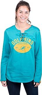 Icer Brands NFL Miami Dolphins Women's Fleece Sweatshirt Lace Long Sleeve Shirt, Small, Aqua