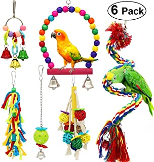 PETUOL Birds Swing Toys, Parrots Chewing Hanging Perches with Bells Toys for Love Birds Budgie Macaws Cockatiels Parakeets African Grey Parrot Finches Lorikeets and Other Large Medium Small Birds